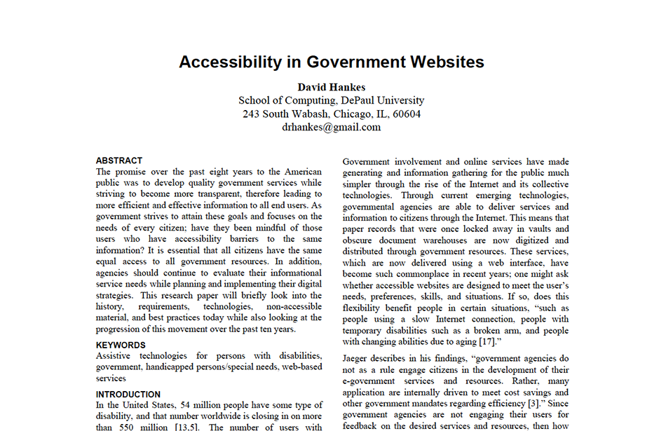 Whitepaper on accessbility of a government website.