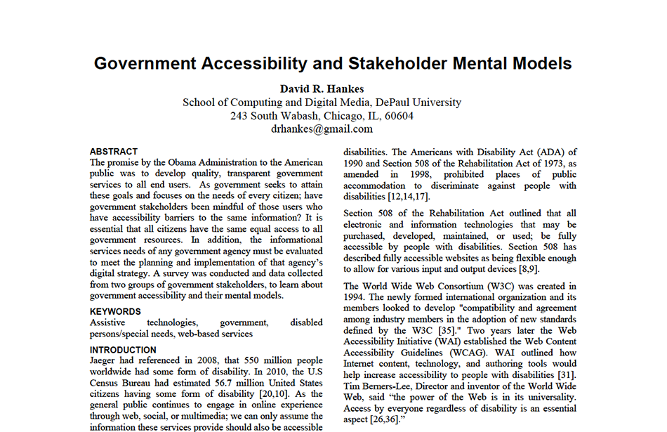 Whitepaper on the history of government accessibility laws.